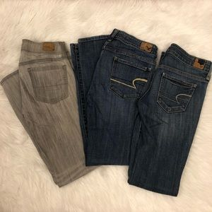 Lot of 3 Jeans Size 2 American Eagle Outfitters